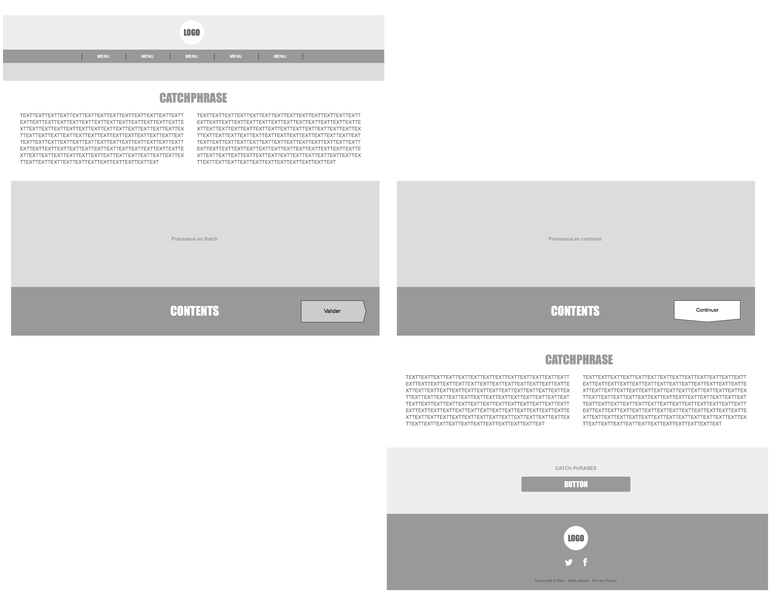 Wireframe du site en one page