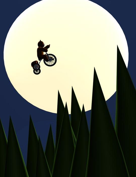 Rendu finale de la scne 3D Nounours et son tricycle