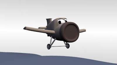 Avion en personnage cartoon