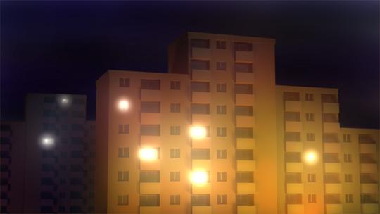 Rendu d'un immeuble la nuit
