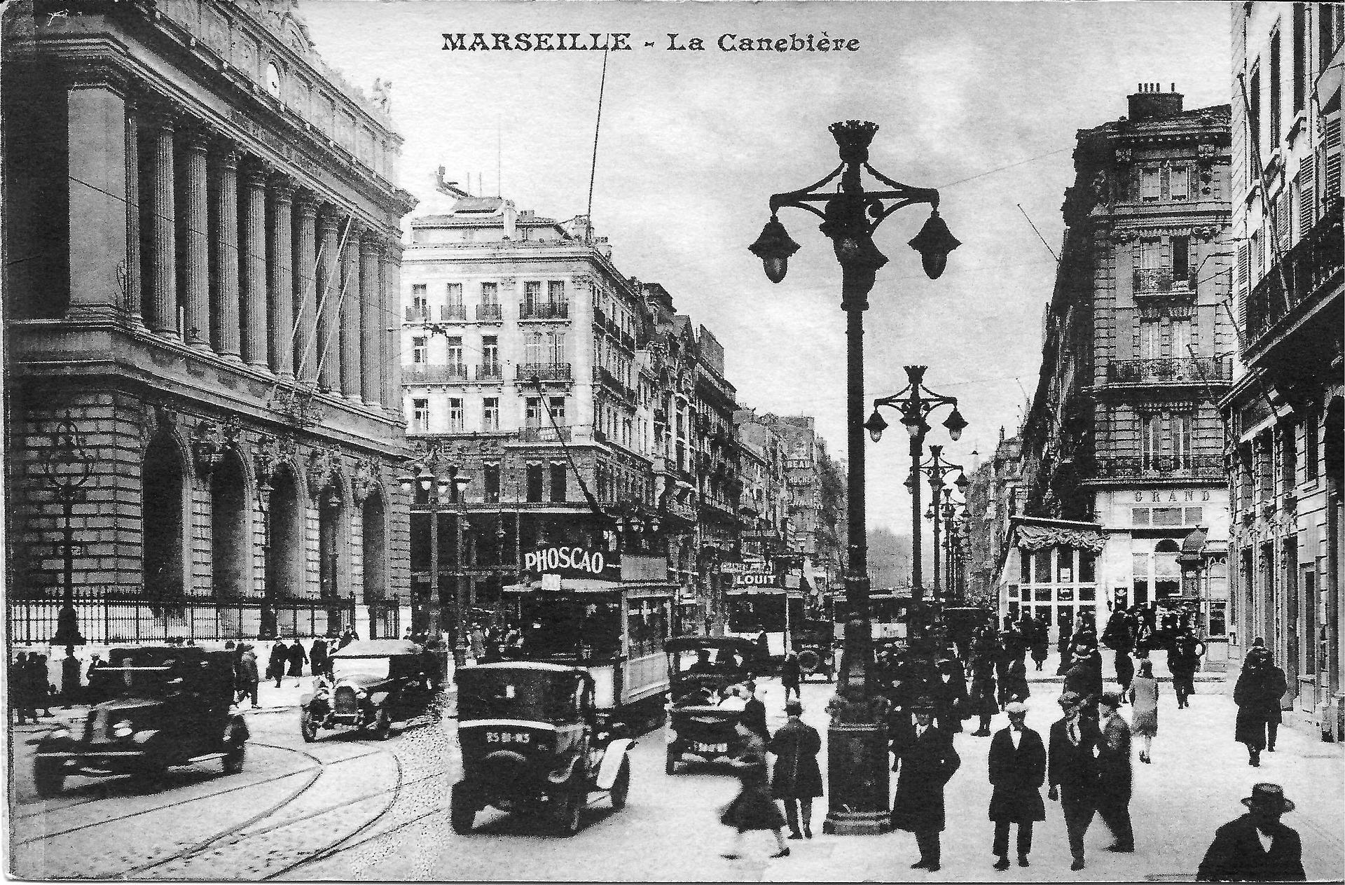Carte postale ancienne de Marseille, la Canebière