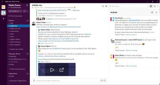 Capture d'écran de Slack